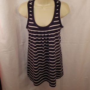 CAbi Ladies Navy Blue and White Tank Top Size Sm.
